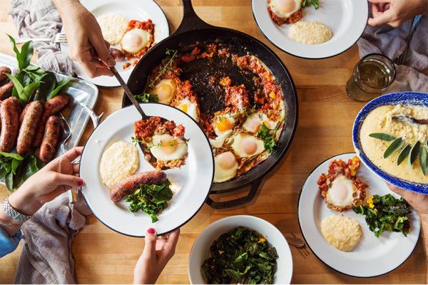 Brunch feast made from farm goods