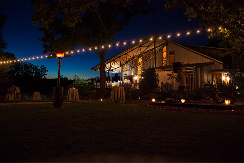 The farm at night for a private event